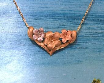 Plumeria Pendant, 14KT Gold Tri-Colors Plumeria Flowers Pendant or Slide, P5177