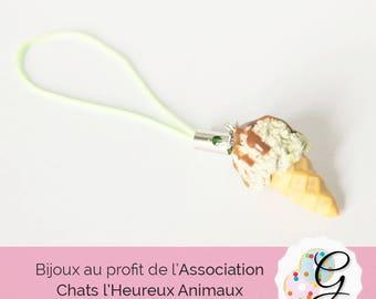 Pistachio strap mini ice cream and chocolate chips