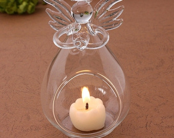 Clear Angel Wishing Glass Hanging Vase Bottle Terrarium Hydroponic Table Decor