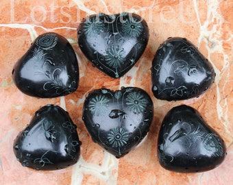 6 Heart shaped stones Black Pebble Hearts