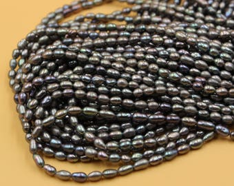 Freshwater Pearls Oval pearl Natural Black loose pearl 3 - 4 mm 15'' Full Strand