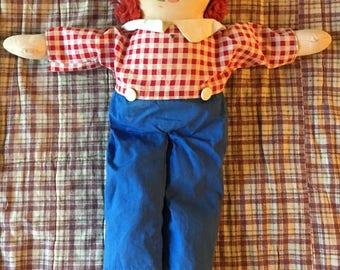 Vintage Raggedy Andy doll / well loved with removable clothing / boy doll / rag doll / Knickerbocker Raggedy Andy / 1970s