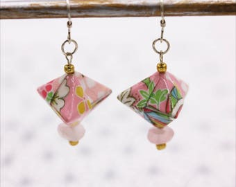Rose quartz and silver Japanese Origami earrings