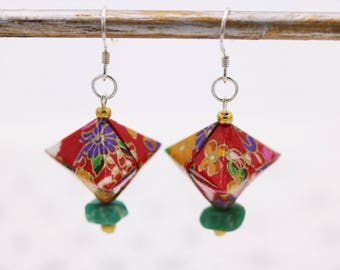 Amazonite and Red Japanese Origami earrings silver