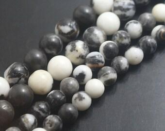 15 Inch One Strand,Black And White Zebra jasper, 8mm Smooth Round Beads