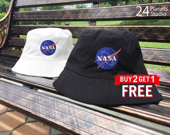 NASA Embroidered Bucket Hat by 24PlanetsStudio