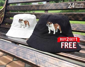 English Bulldog Embroidered Bucket Hat by 24PlanetsStudio