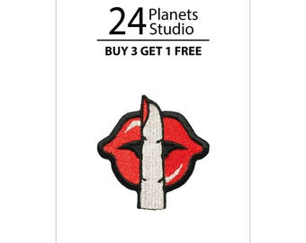 Mini Shhh#101 Red Lips Red Kiss Iron on Patch by 24PlanetsStudio