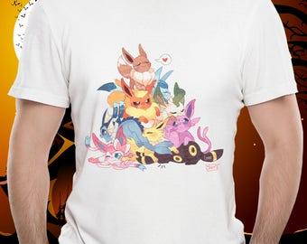 EEVEE EVOLUTIONS POKEMON Unisex Tshirt Glaceon, Sylveon, Eevee, Flareon, Jolteon, Leafeon, Espeon, Umbreon Vaporeon Pokemon Go Treasure Tee!