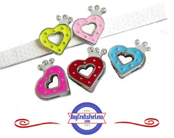 Ship .99 -Slide HEART With Rhinestone CROWN for 8mm Slider Bracelets, Collars, Key Rings, 5 Colors +FREE Shipping & Discounts*