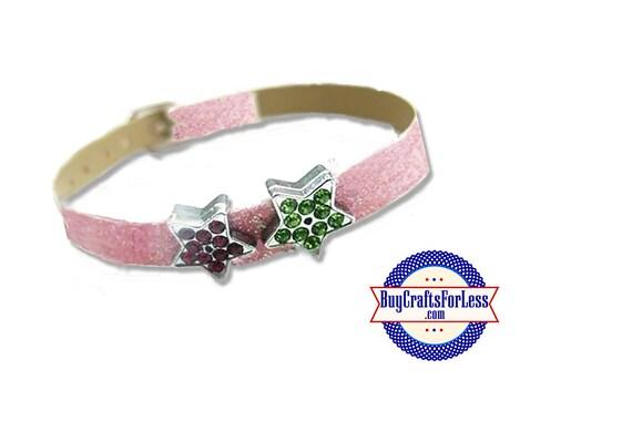 Rhinestone Slide STAR for Slider BRACELET, Collars, Key Rings, Crafts- 5 Colors +FREE Shipping & Discounts*