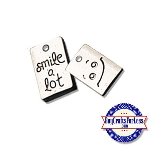 "SMILE Charms, ""Smile A Lot"", 6, 12, 24 pcs +FREE SHiPPing & Discounts*"