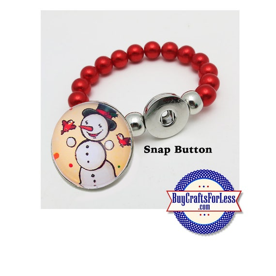 SNAP CHRiSTMAS Snowman BUTTON, 18mm INTERCHaNGABLE Button +FREE Shipping & Discounts