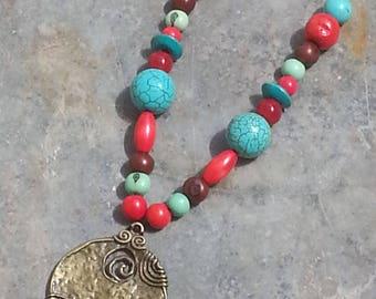 ethnic necklace - bohemian necklace - bronze Locket necklace - turquoise stone necklace - Pearl Necklace - bronze pendant necklace