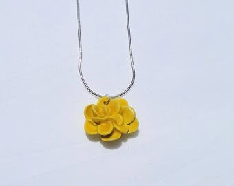 yellow flower pottery necklace, handmade