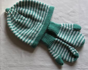Hats Hand Knitted Baby Hat, Toddler, Age 12 months, Pure Merino Wool