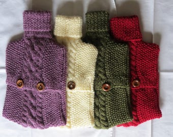 Hot Water Bottle Hand Knitted  with Alpaca Wool