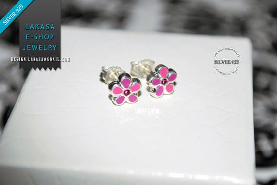 Purple Pink Enamel Flowers Studs Earrings Sterling Silver 925 Jewelry with Pink Zirconia Crystals lovely gift for her Woman Girls Collection