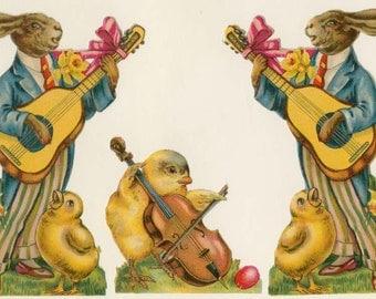 Bunnies Serenading, Guitars, Daffodils, Eggs, Viola, Choral Chicks