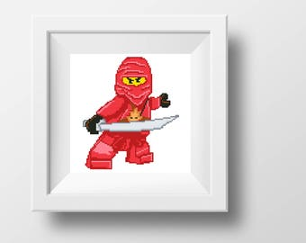 Lego ninjago Kai beginner cross stitch PDF pattern Kids room wall art decoration xstitch embroidery Point de croix needlepoint canvas