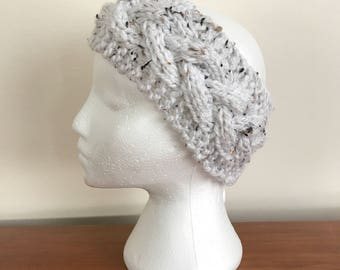 Cabled Knit Headband - Knit Adult Earwarmer - Girls Headband - Cable Headband - Chunky Cable Headband