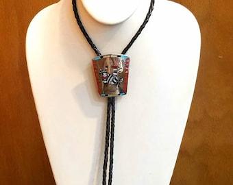 Vintage Native American Zuni Handmade Sterling Silver Multi-Stone Inlay Bolo Tie by Dennis Nancy Edaakie