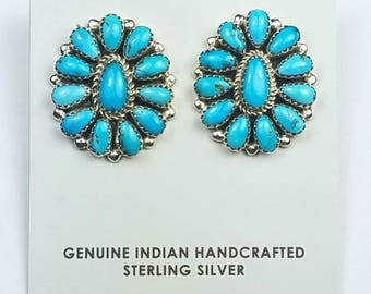 Native American Navajo handmade Sterling Silver Sleeping Beauty Turquoise cluster post earrings