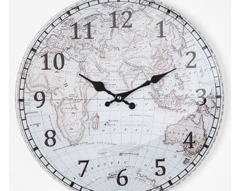 Round clock Globe Adventure Bottom Celestine 38X4X38 cm