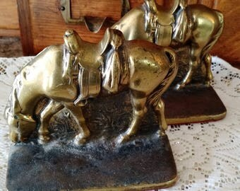 Vintage Western bookends, 1950's Western bookends, Brass horse bookends, Western horse, Cowboy bookends
