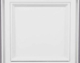 "100PCS 7.25"" Silver Square Border White Plastic Plate, Wedding Supplies, Wedding, Wedding Decor, Party Supplies, Plastic Plates"