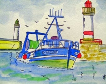 WATERCOLOR BOAT ON THE SEA IN BRITTANY