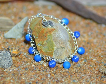 rhinestones and neon blue Beads Bracelet