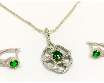 CLEARANCE SALE Green Emerald Sterling Silver necklace and earrings set with white sapphire, Silver Jewelry set. Emerald Jewelry set.