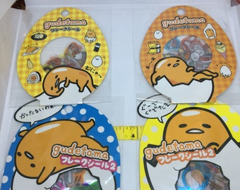 One Package or sack of Gudetama sticker flakes 60pcs for scrapbooks, planners or journals Kawaii Japan the Lazy Yolk