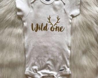 Wild One Onesie   Antlers