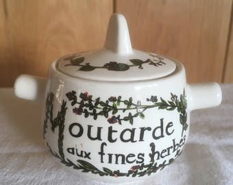 French Ceramic Mustard Pot  and lid , French Cuisine, Condiments , Country Kitchen