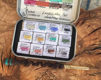 Landscape Starter Set of 12- Artisan Handmade Watercolor paint Set made from Genuine World Earth Pigments