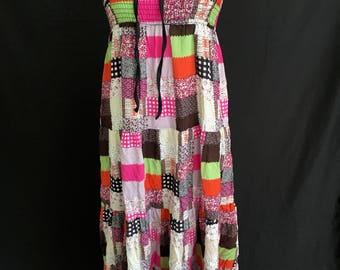 Vintage Flowy Patchwork Dress