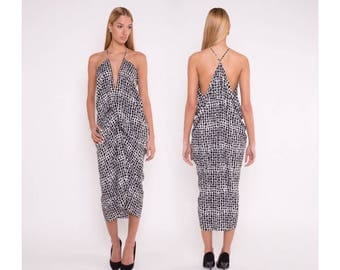 Elegant dress, black/ white print dress, black/ white pring dress, black/ white pring drape dress, drape dress, long dress,  party dress