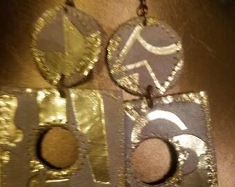 Leather & Gold Foil Earrings