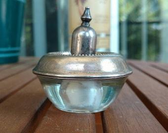 Vintage glass & sterling silver table lighter