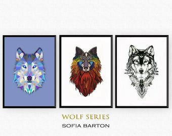 Wolf series Trilogy. Ice wolf. Fire wolf. Earth wolf. Premium Gliceé Prints. All three come framed and signed.
