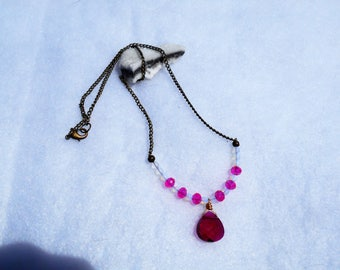 Pink Swarovski Pendant Brass Necklace
