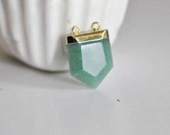 Pendant stone natural green Aventurine hexagonal geometric gold backing