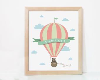 Adventure awaits, hot air balloon nursery print, Printable nursery wallart, Printable woodland nursery decor, Adventure Travel nursery decor