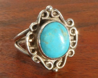 Turquoise and Sterling Silver Ring, Size 7.75