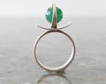 Poul Warmind vintage sterling silver and chrysoprase ring