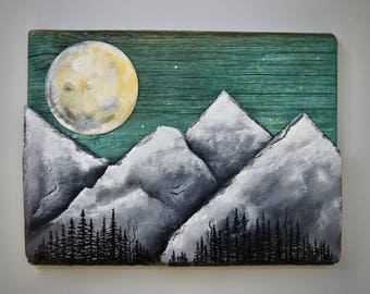 Reclaimed Wood and Slate Mountain Sculptural Painting