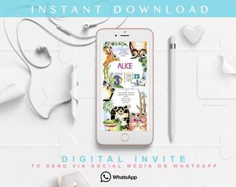 Jungle Invitation, Jungle Birthday Invitation, Jungle Party, Jungle Printable, Jungle Instant Download Invitation for whatsapp