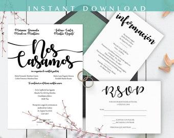 Invitaciones de Boda, Spanish wedding invitation, Wedding Suite, Instant Download, Moderno, Nos Casamos, Imprime en casa, PDF, Edit at home